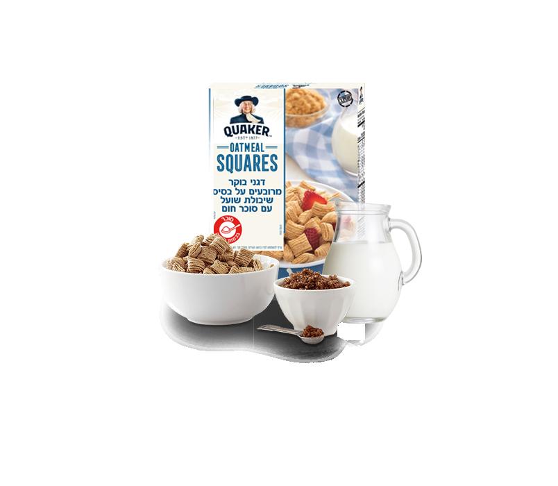 קוואקר דגני בוקר מרובעים עם סוכר חום