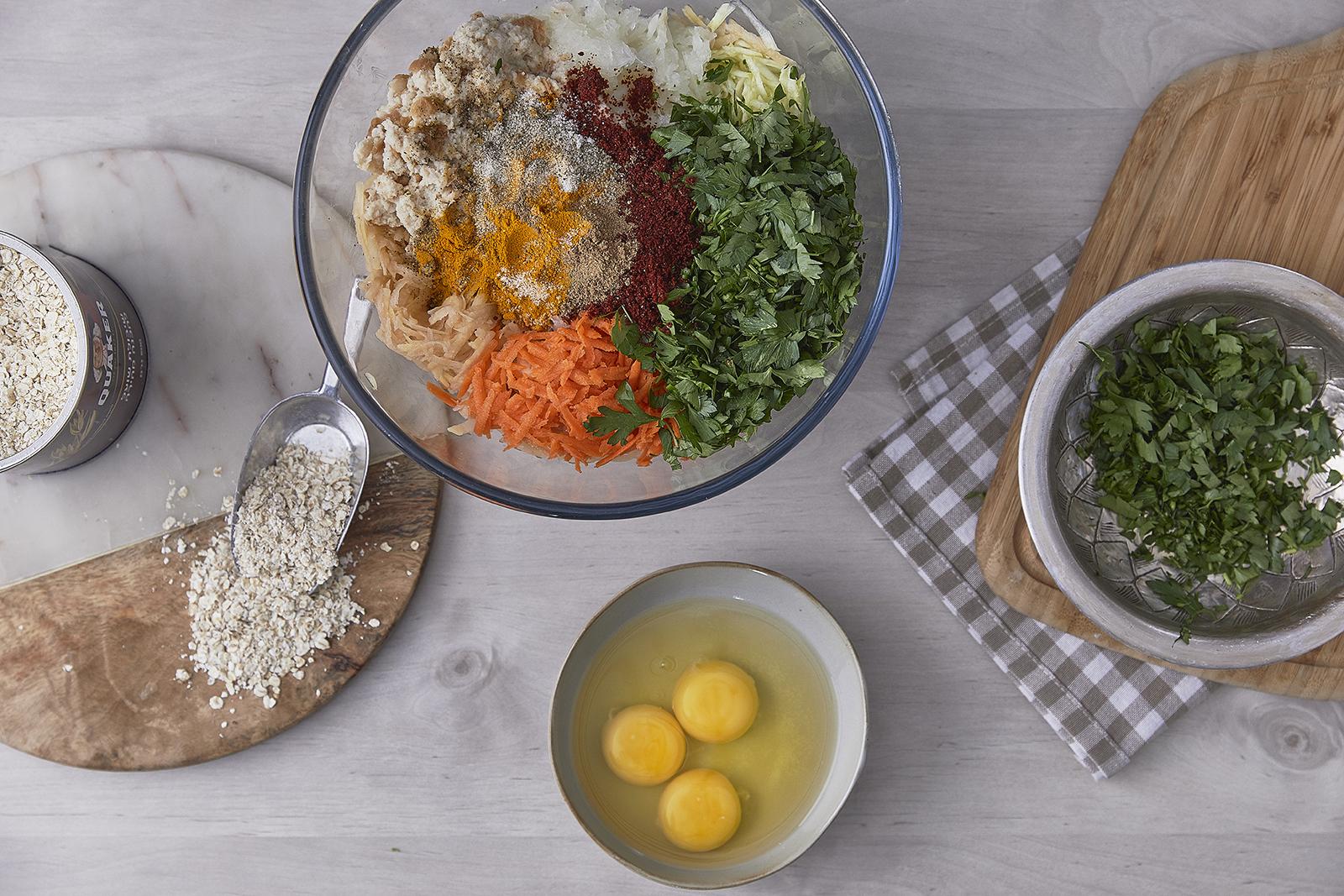 שלב שני - עיג'ה – קציצות ירק עם קוואקר