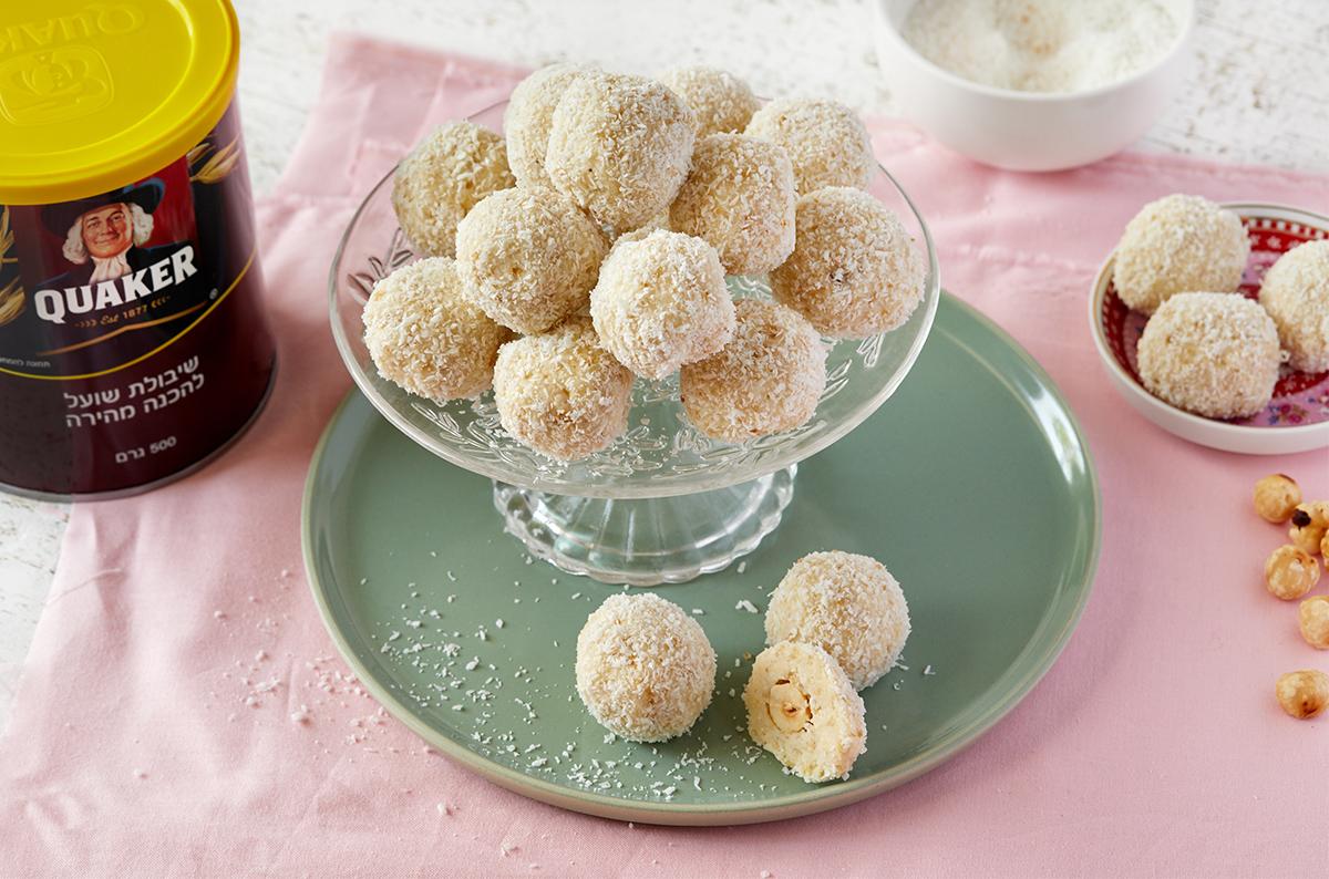 כדורי שלג – כדורי שוקולד לבן, קוואקר וקוקוס